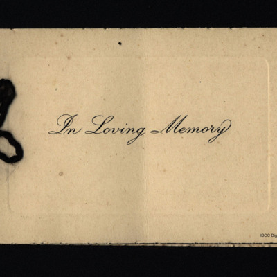 Charles Harry Sidney Brooks memorial card